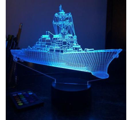 Beling 3D lampa,Bojová loď USN Guided Missile Destroyer, 7 farebná 5L